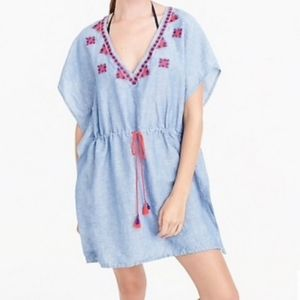 J. Crew Embroidered Tassel Cover Up Tunic